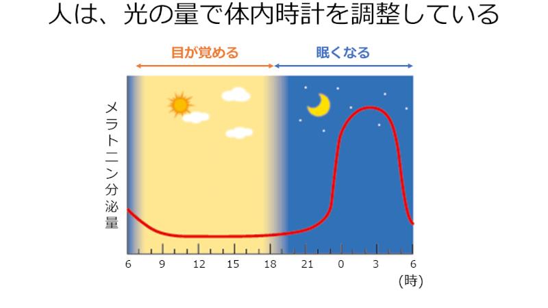 睡眠と覚醒の体内時計はメラトニンの分泌量で決まる